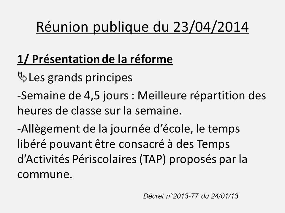 Réunion publique du 23/04/2014 1/ Présentation de la réforme  Obligations pour les communes Article D.521-11 et L.551-1 code de l'éducation - Obligation d'adopter la semaine de 4,5 j : OUI - Obligation de proposer des TAP : NON