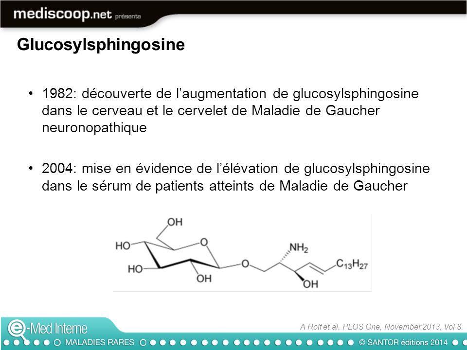 Chitotriosidase (n=223) CCL18 (n=207) Glucosylsphingosine (n= 521) Cut point>145>166>12 Sensibilité91.7%76.2%100% Spécificité86.1%79.4%100% A Rolf et al.