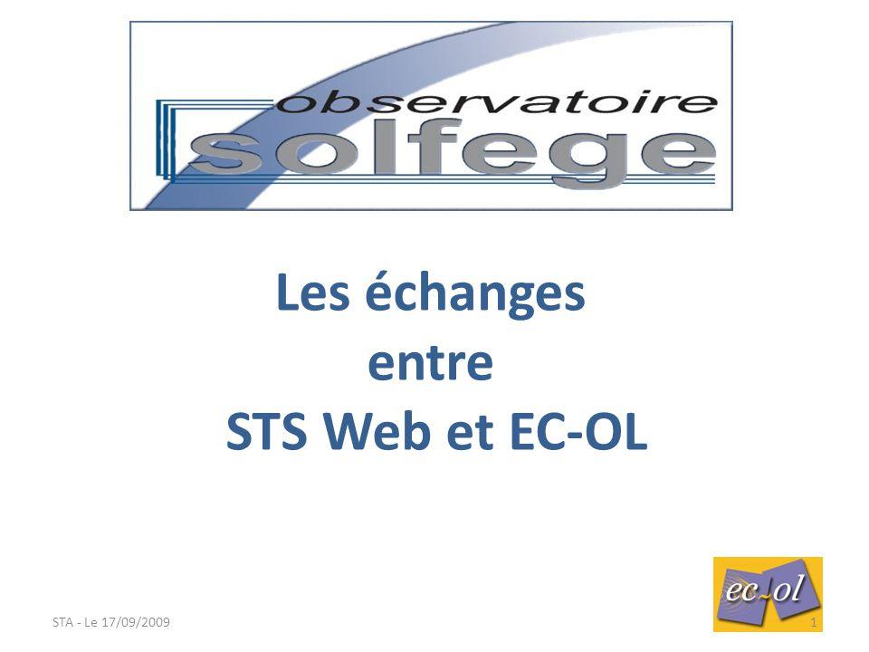 Les échanges entre STS Web et EC-OL STA - Le 17/09/20091