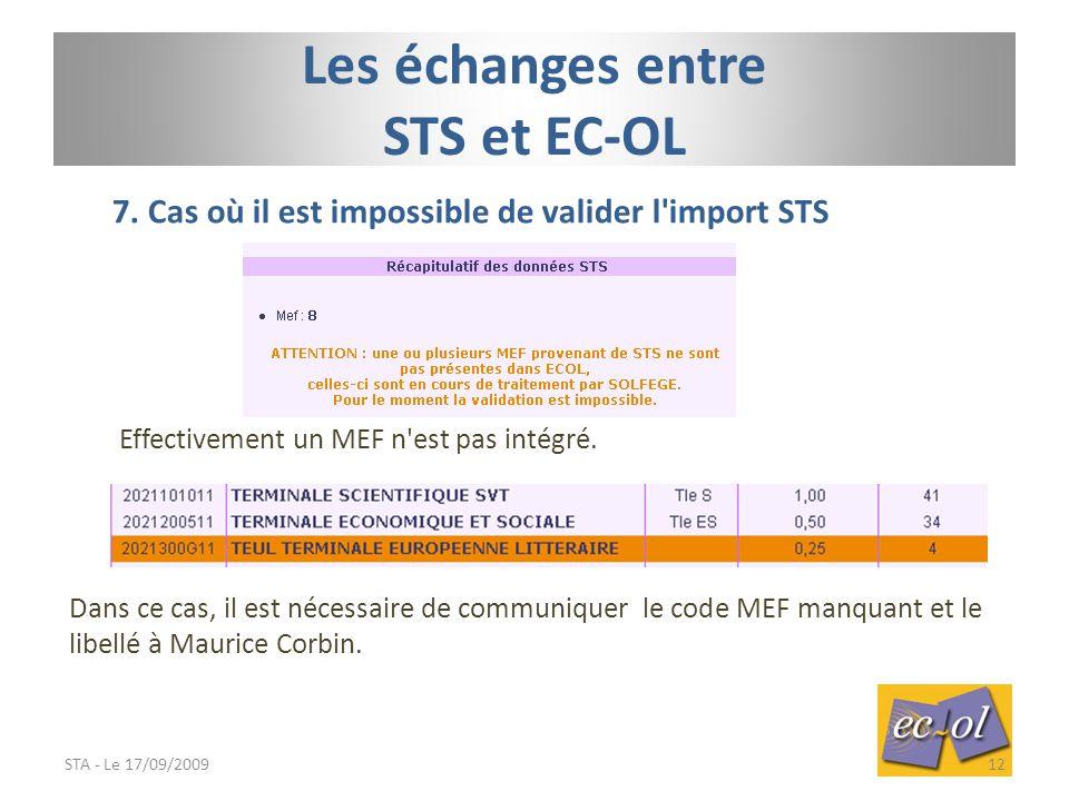 Les échanges entre STS et EC-OL 7.