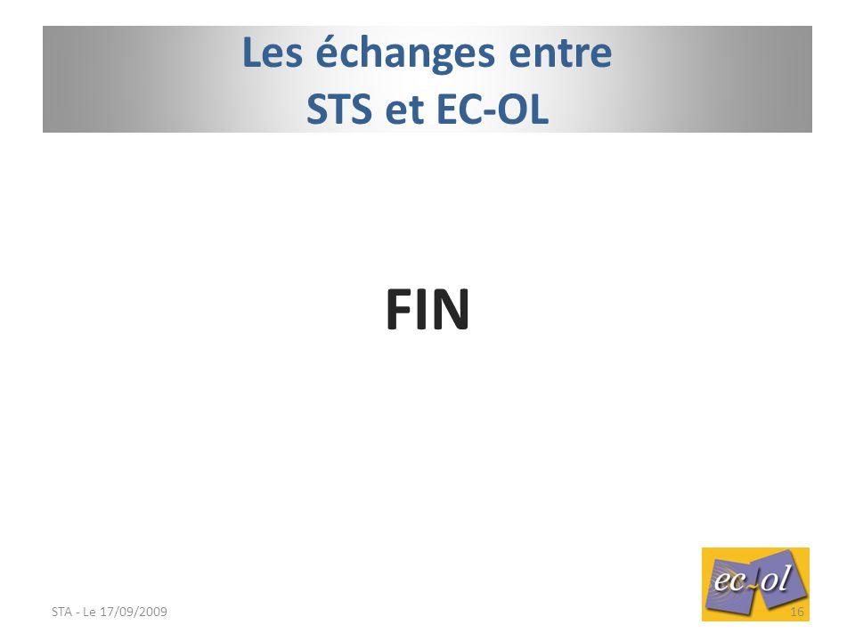 FIN STA - Le 17/09/200916 Les échanges entre STS et EC-OL