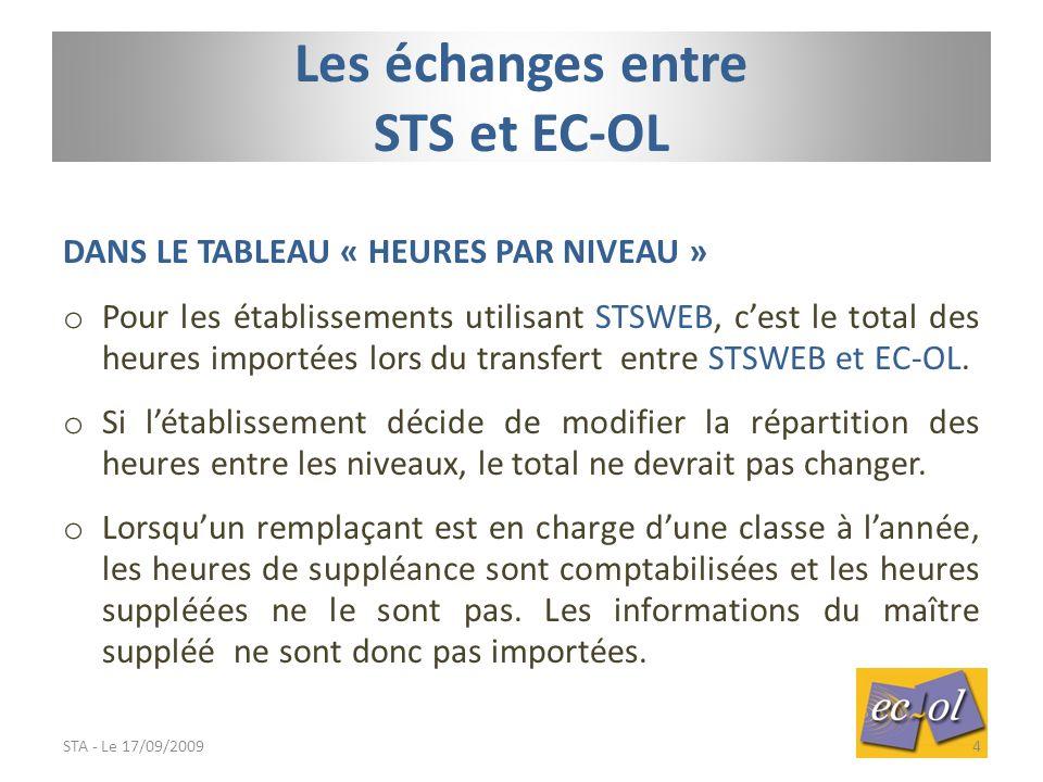 DANS LE TABLEAU « HEURES PAR NIVEAU » o Pour les établissements utilisant STSWEB, c'est le total des heures importées lors du transfert entre STSWEB et EC-OL.