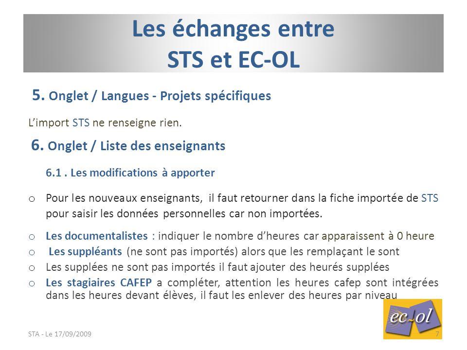 5.Onglet / Langues - Projets spécifiques L'import STS ne renseigne rien.