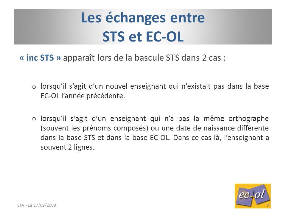 « inc STS » apparaît lors de la bascule STS dans 2 cas : o lorsqu'il s'agit d'un nouvel enseignant qui n'existait pas dans la base EC-OL l'année précédente.