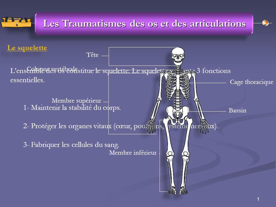 1 Les Traumatismes des os et des articulations Le squelette L'ensemble des os constitue le squelette. Le squelette présente 3 fonctions essentielles.