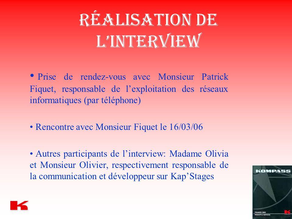 Réalisation de l'interview Prise de rendez-vous avec Monsieur Patrick Fiquet, responsable de l'exploitation des réseaux informatiques (par téléphone)