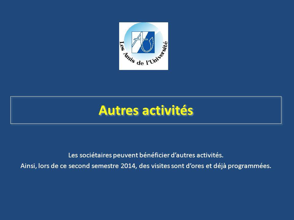 Autres activités Les sociétaires peuvent bénéficier d'autres activités. Ainsi, lors de ce second semestre 2014, des visites sont d'ores et déjà progra