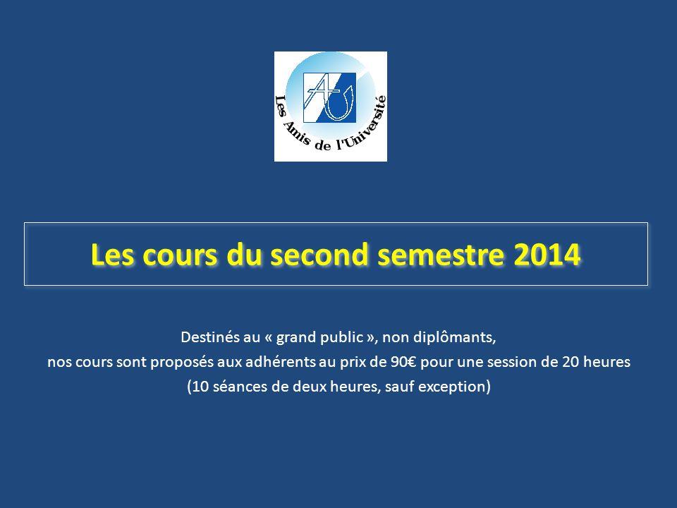 Destinés au « grand public », non diplômants, nos cours sont proposés aux adhérents au prix de 90€ pour une session de 20 heures (10 séances de deux h