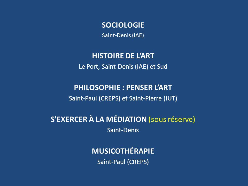 SOCIOLOGIE Saint-Denis (IAE) HISTOIRE DE L'ART Le Port, Saint-Denis (IAE) et Sud PHILOSOPHIE : PENSER L'ART Saint-Paul (CREPS) et Saint-Pierre (IUT) S