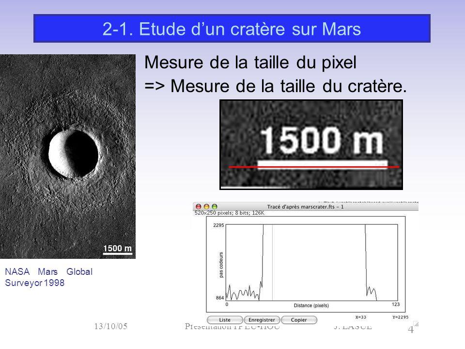 J. LASUE 4 13/10/05Présentation TP EU-HOU Mesure de la taille du pixel => Mesure de la taille du cratère. 2-1. Etude d'un cratère sur Mars NASA Mars G