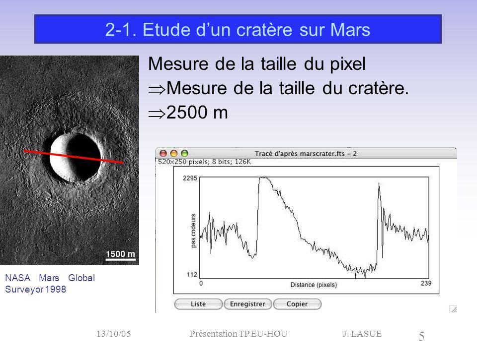 J. LASUE 5 13/10/05Présentation TP EU-HOU Mesure de la taille du pixel  Mesure de la taille du cratère.  2500 m 2-1. Etude d'un cratère sur Mars NAS