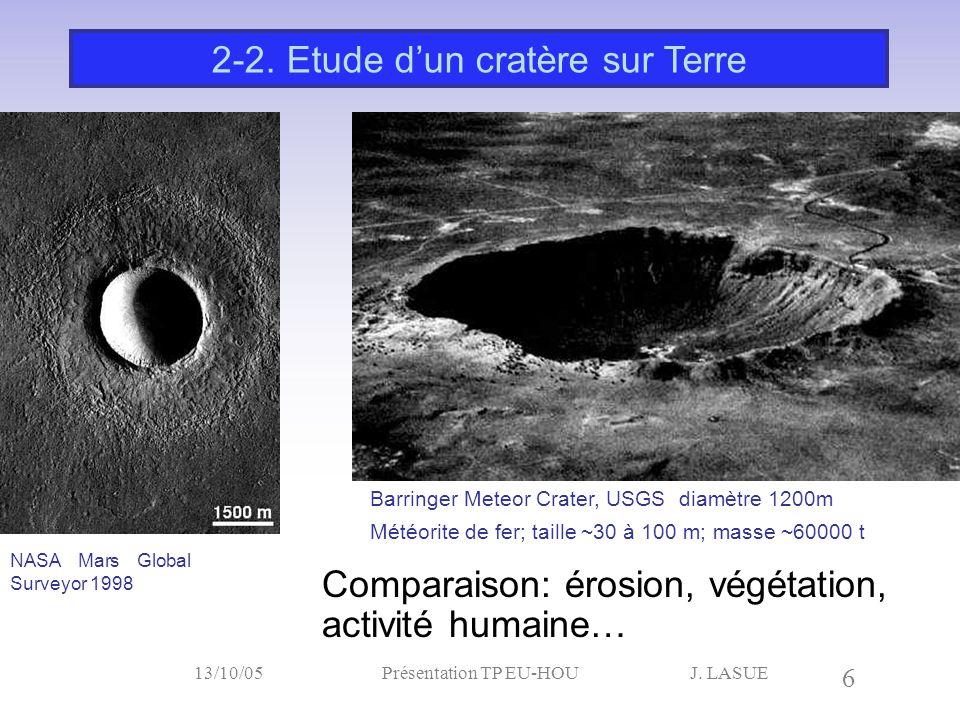 J. LASUE 6 13/10/05Présentation TP EU-HOU Comparaison: érosion, végétation, activité humaine… 2-2. Etude d'un cratère sur Terre NASA Mars Global Surve