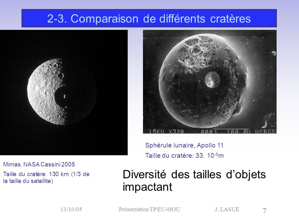 J. LASUE 7 13/10/05Présentation TP EU-HOU Diversité des tailles d'objets impactant 2-3. Comparaison de différents cratères Mimas, NASA Cassini 2005 Ta