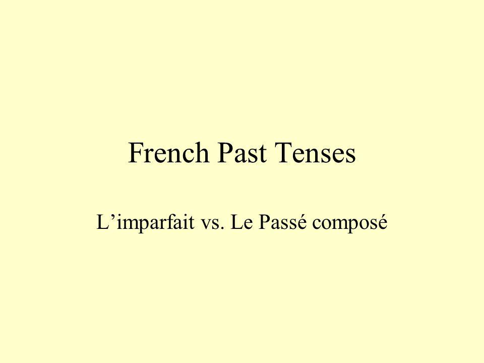 French Past Tenses L'imparfait vs. Le Passé composé