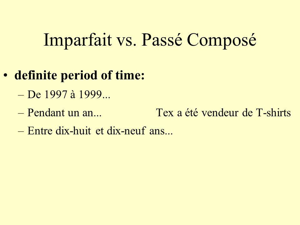Imparfait vs. Passé Composé definite period of time: –De 1997 à 1999... –Pendant un an... Tex a été vendeur de T-shirts –Entre dix-huit et dix-neuf an
