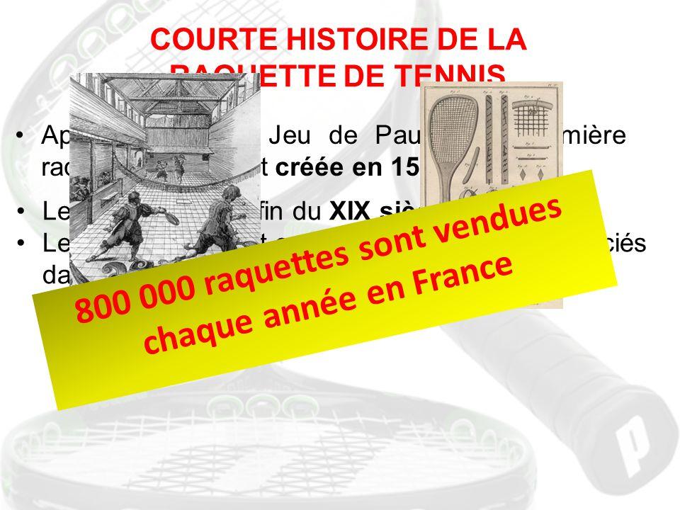 Le tennis nait à la fin du XIX siècle Le deuxième sport en France : 1 105 445 licenciés dans 8 404 clubs affiliés en 2009. COURTE HISTOIRE DE LA RAQUE