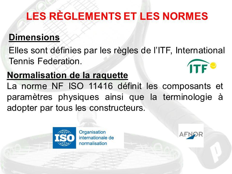 LES RÈGLEMENTS ET LES NORMES Dimensions Elles sont définies par les règles de l'ITF, International Tennis Federation. Normalisation de la raquette La