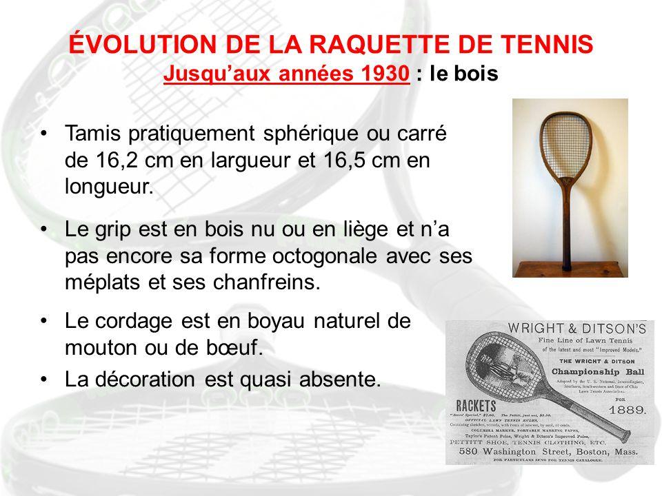 ÉVOLUTION DE LA RAQUETTE DE TENNIS Jusqu'aux années 1930 : le bois Tamis pratiquement sphérique ou carré de 16,2 cm en largueur et 16,5 cm en longueur