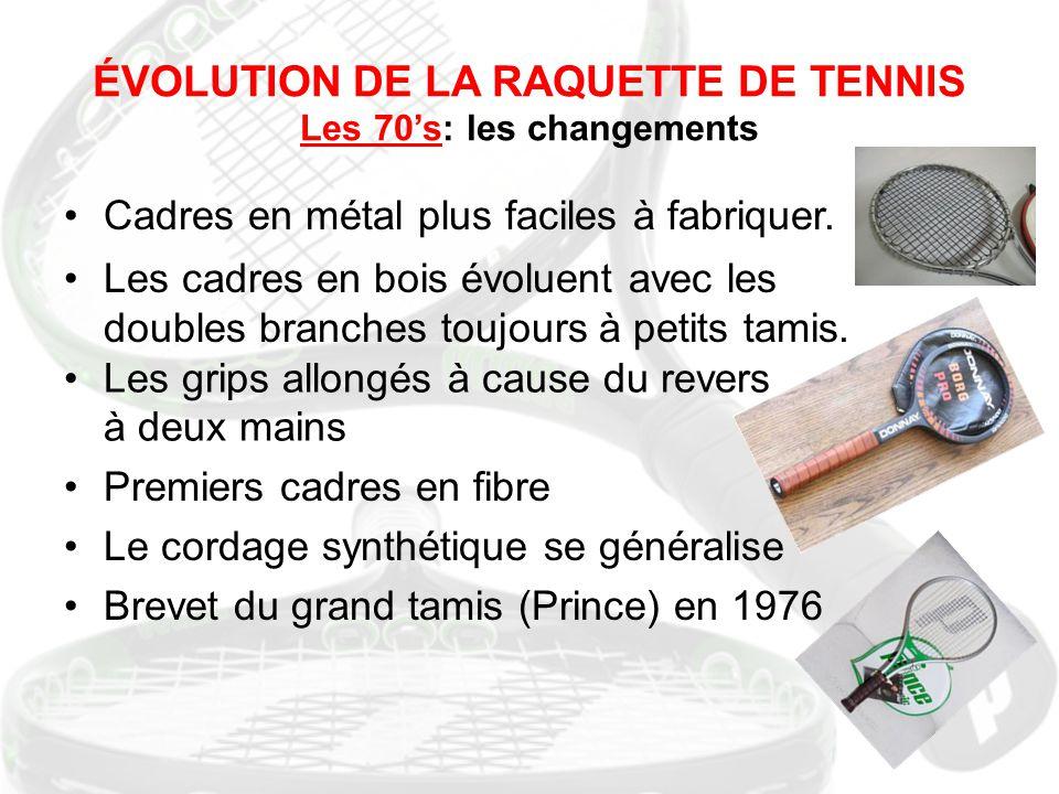ÉVOLUTION DE LA RAQUETTE DE TENNIS Les 70's: les changements Cadres en métal plus faciles à fabriquer. Les cadres en bois évoluent avec les doubles br