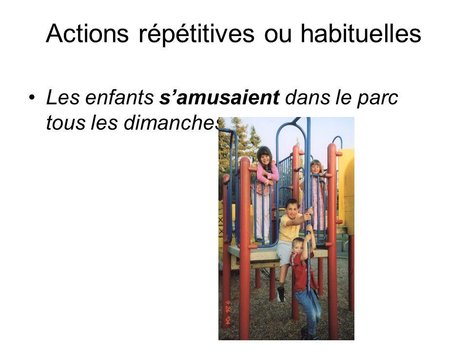 Actions répétitives ou habituelles Les enfants s'amusaient dans le parc tous les dimanches