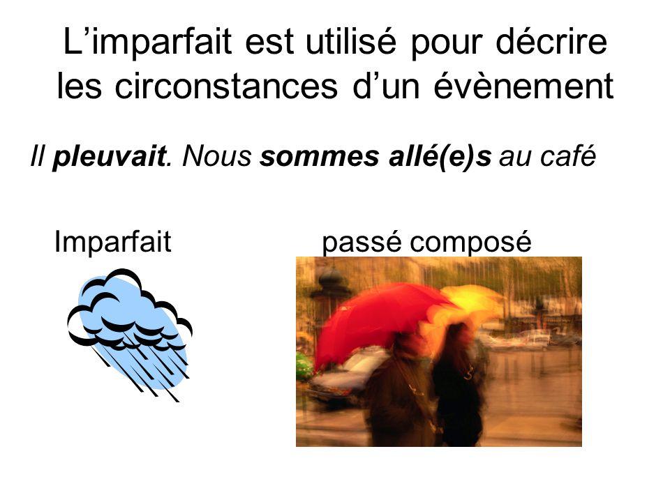 L'imparfait est utilisé pour décrire les circonstances d'un évènement Il pleuvait.