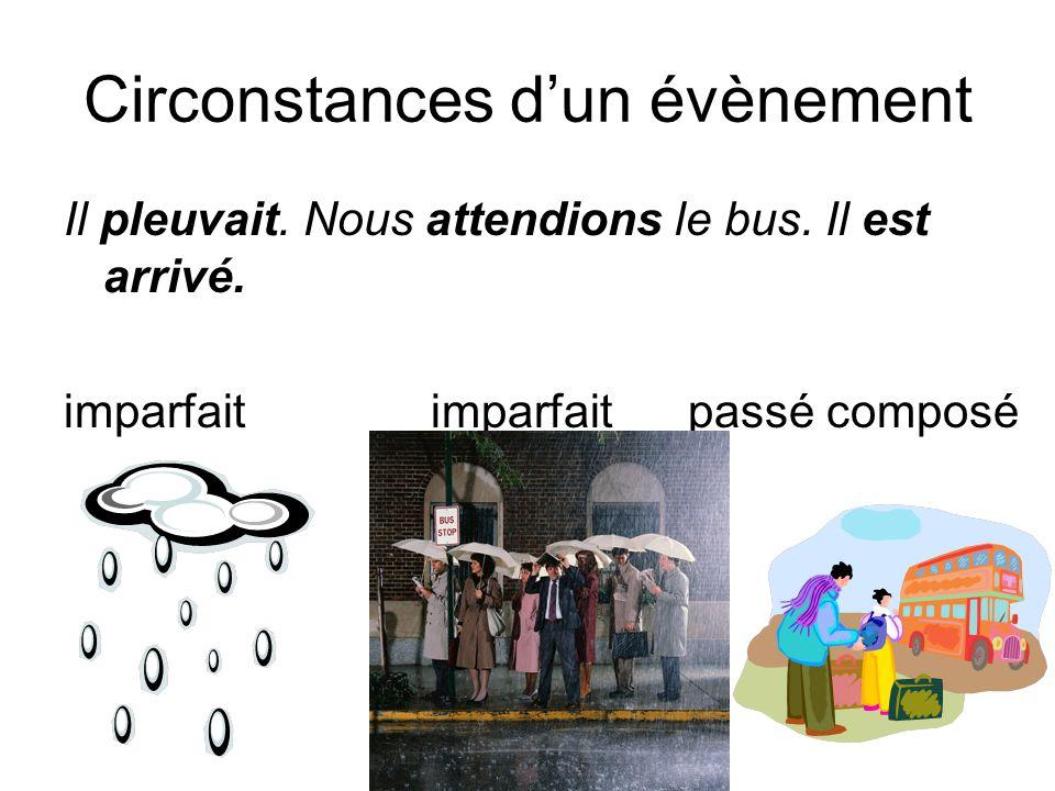 Circonstances d'un évènement Il pleuvait.Nous attendions le bus.