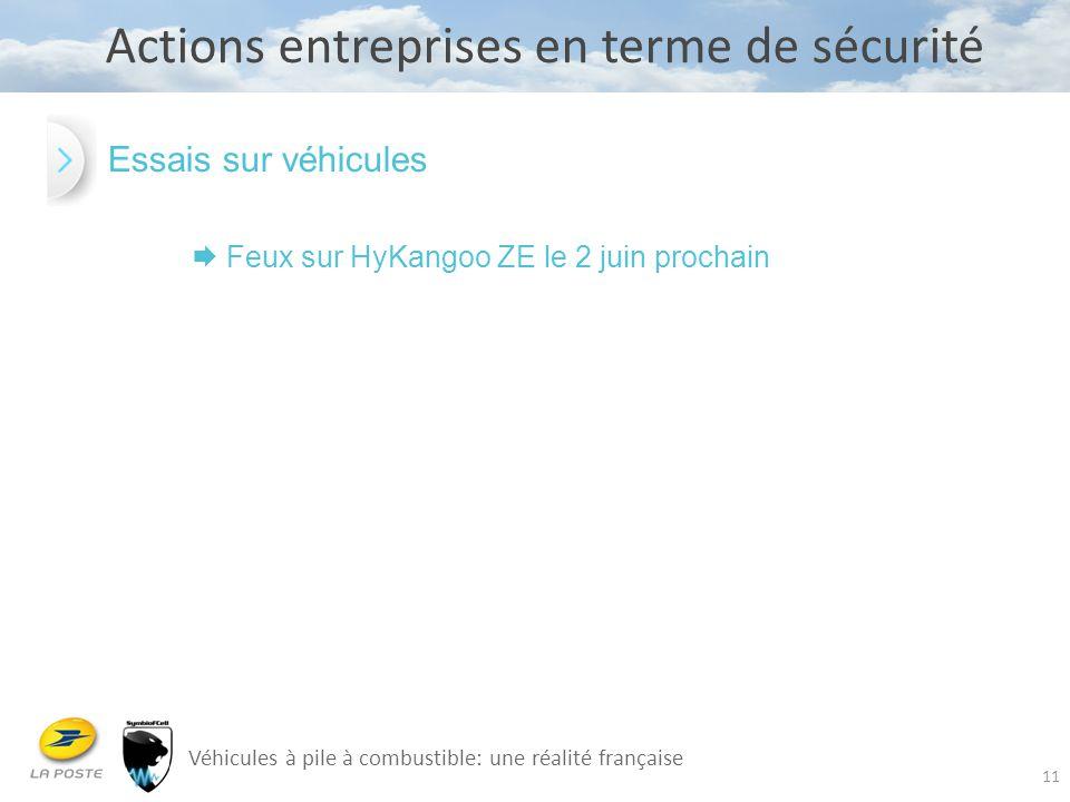 11 Actions entreprises en terme de sécurité Véhicules à pile à combustible: une réalité française Essais sur véhicules  Feux sur HyKangoo ZE le 2 jui