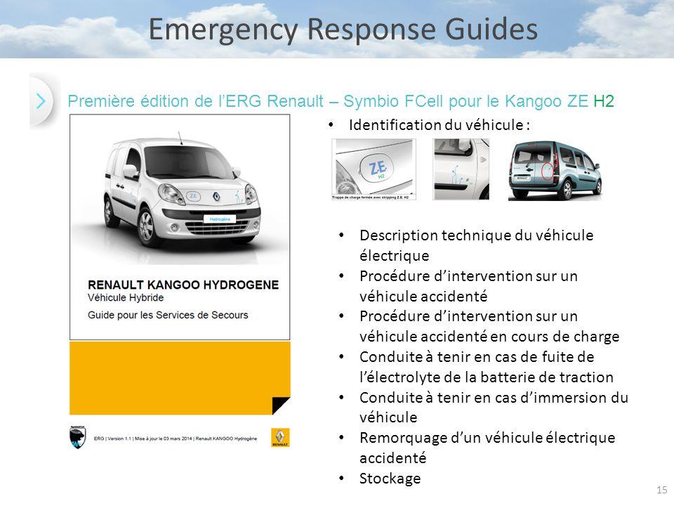 15 Emergency Response Guides Première édition de l'ERG Renault – Symbio FCell pour le Kangoo ZE H2 Identification du véhicule : Description technique