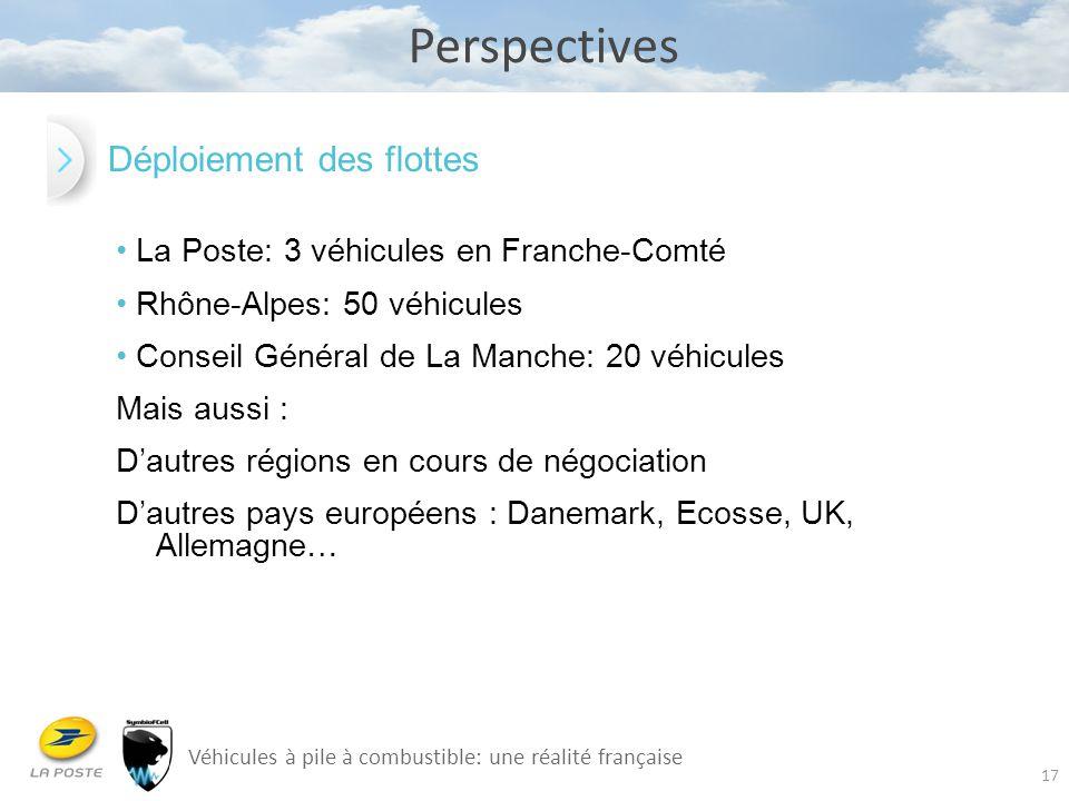 17 Perspectives Véhicules à pile à combustible: une réalité française La Poste: 3 véhicules en Franche-Comté Rhône-Alpes: 50 véhicules Conseil Général