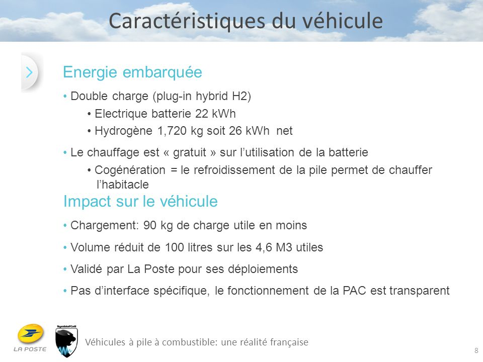 8 Caractéristiques du véhicule Energie embarquée Double charge (plug-in hybrid H2) Electrique batterie 22 kWh Hydrogène 1,720 kg soit 26 kWh net Le ch
