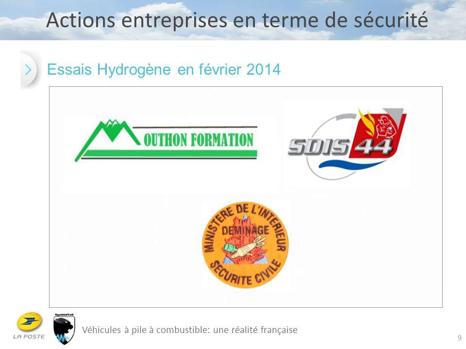 9 Actions entreprises en terme de sécurité Véhicules à pile à combustible: une réalité française Essais Hydrogène en février 2014