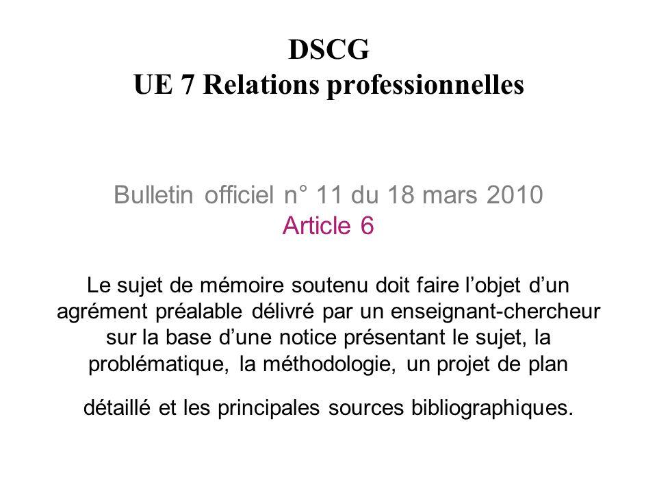 Bulletin officiel n° 11 du 18 mars 2010 Article 6 Le sujet de mémoire soutenu doit faire l'objet d'un agrément préalable délivré par un enseignant-che