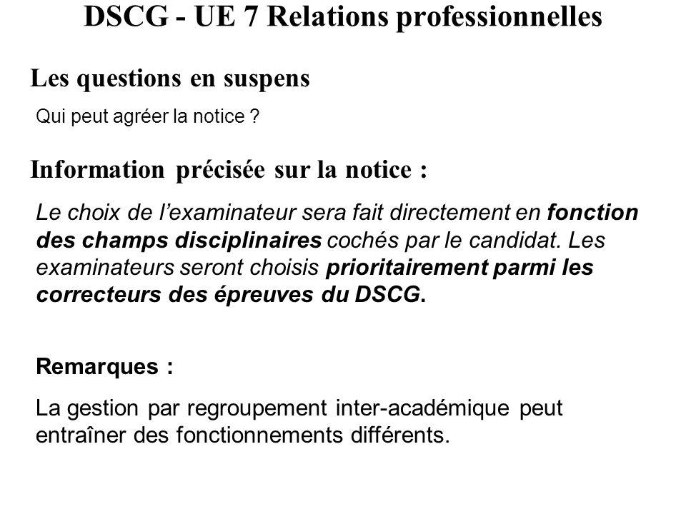 DSCG - UE 7 Relations professionnelles Les questions en suspens Qui peut agréer la notice ? Information précisée sur la notice : Le choix de l'examina
