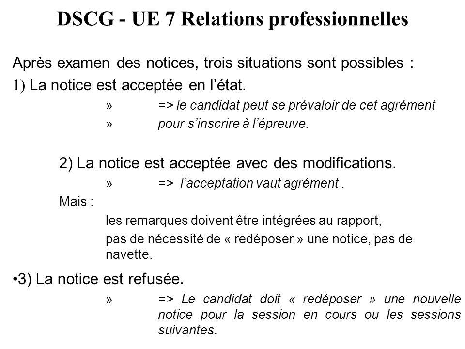 DSCG - UE 7 Relations professionnelles Après examen des notices, trois situations sont possibles : 1) La notice est acceptée en l'état. »=> le candida