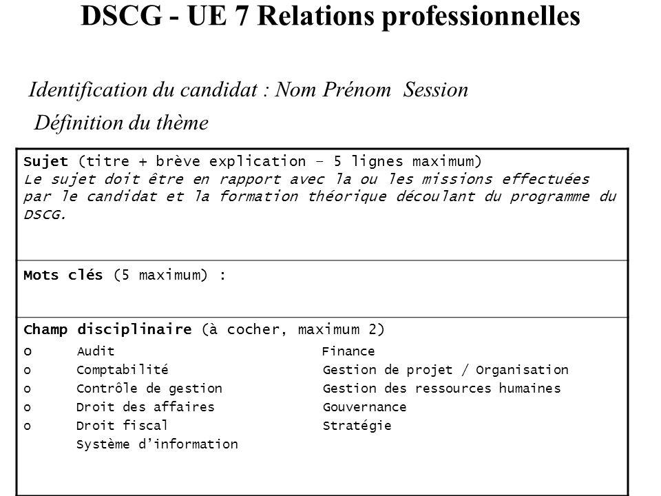 DSCG - UE 7 Relations professionnelles Définition du thème Identification du candidat : Nom Prénom Session Sujet (titre + brève explication – 5 lignes