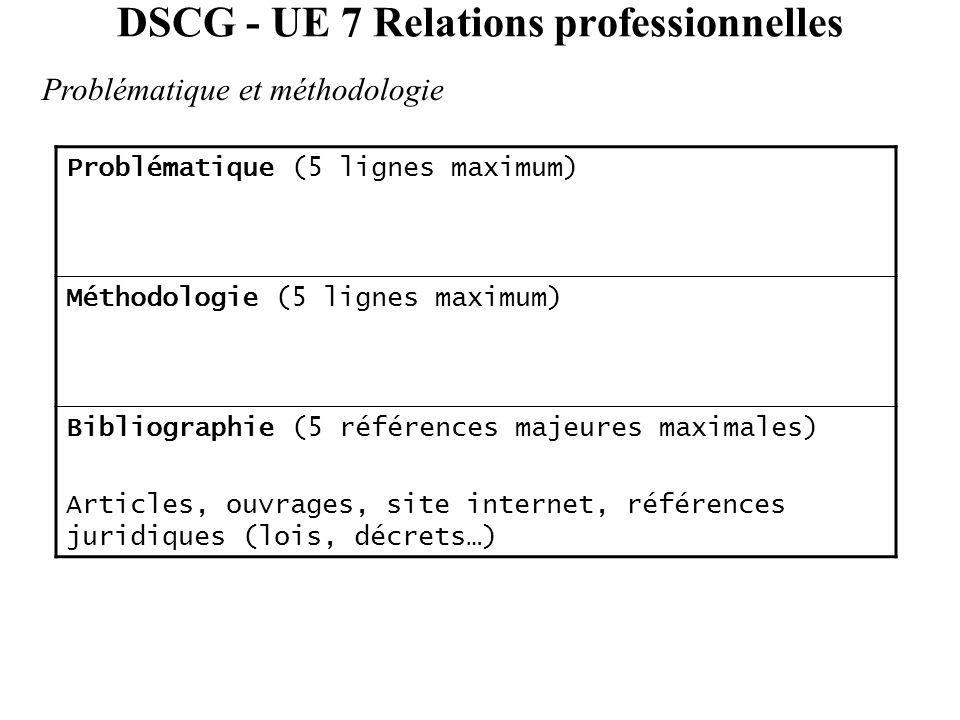 DSCG - UE 7 Relations professionnelles Problématique et méthodologie Problématique (5 lignes maximum) Méthodologie (5 lignes maximum) Bibliographie (5