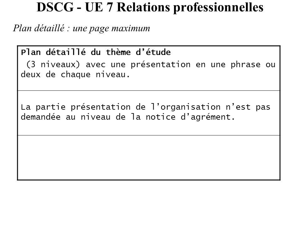 DSCG - UE 7 Relations professionnelles Plan détaillé : une page maximum Plan détaillé du thème d'étude (3 niveaux) avec une présentation en une phrase