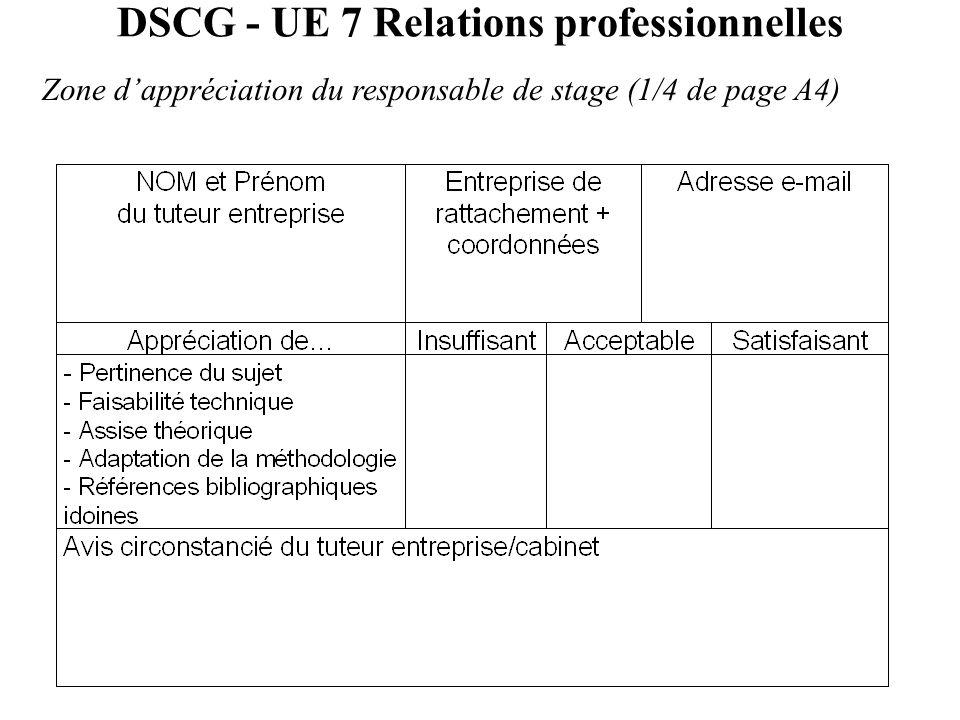 DSCG - UE 7 Relations professionnelles Zone d'appréciation du responsable de stage (1/4 de page A4)