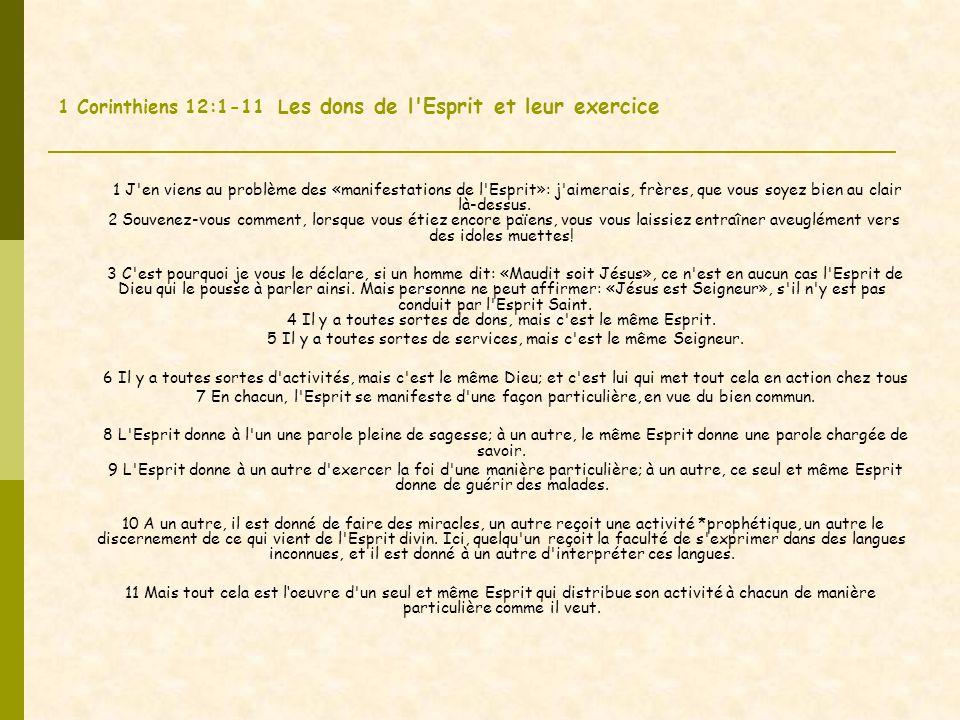 1 Corinthiens 12:1-11 L es dons de l Esprit et leur exercice 1 J en viens au problème des «manifestations de l Esprit»: j aimerais, frères, que vous soyez bien au clair là-dessus.
