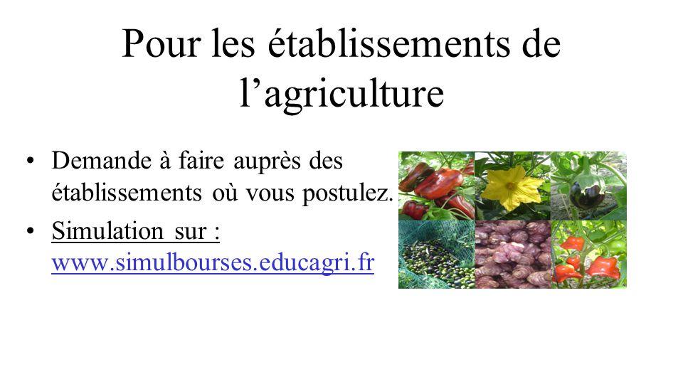 Pour les établissements de l'agriculture Demande à faire auprès des établissements où vous postulez.