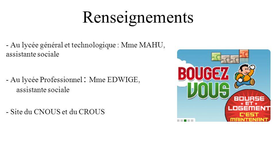 Renseignements - Au lycée général et technologique : Mme MAHU, assistante sociale - Au lycée Professionnel : Mme EDWIGE, assistante sociale - Site du CNOUS et du CROUS