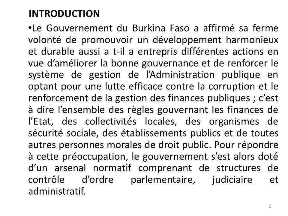 PREMIER MINISTERE BURKINA FASO AUTORITE SUPERIEURE DE CONTROLE D'ETAT Unité-Progrès-Justice STRUCTURES ADMINISTRATIVES DE CONTROLES : CONTRIBUTIONS A