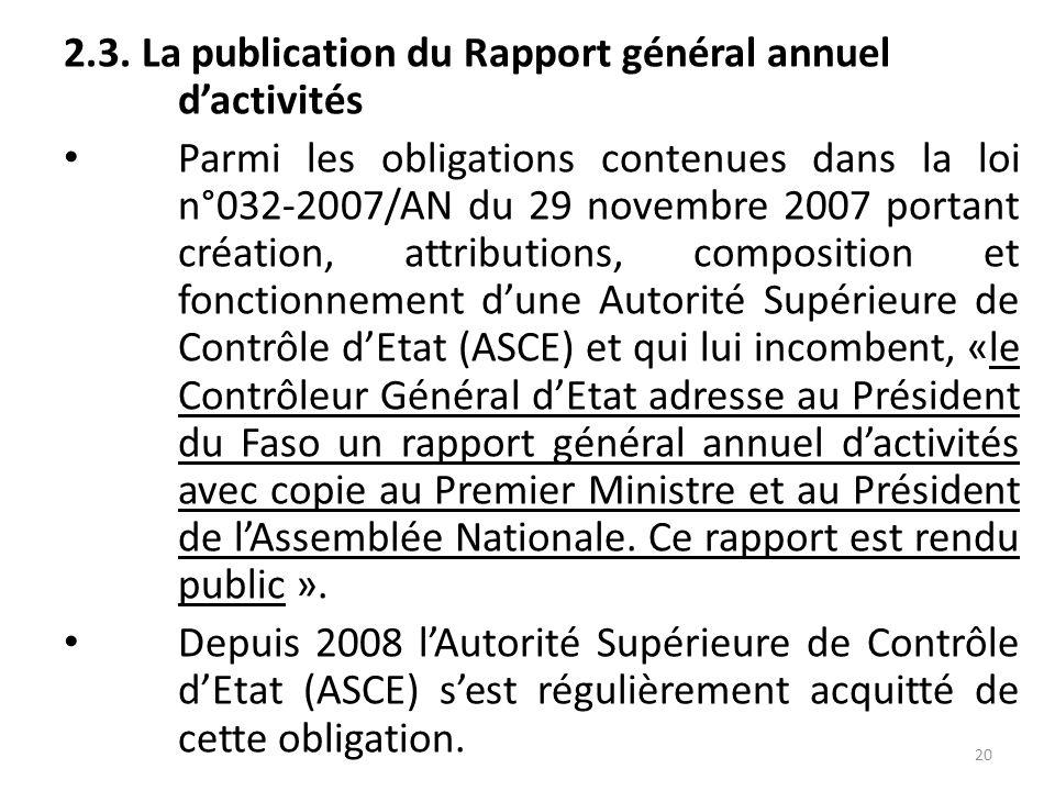 2.2.2. En 2012 et 2013, la mise en œuvre des recommandations était la suivante : 19