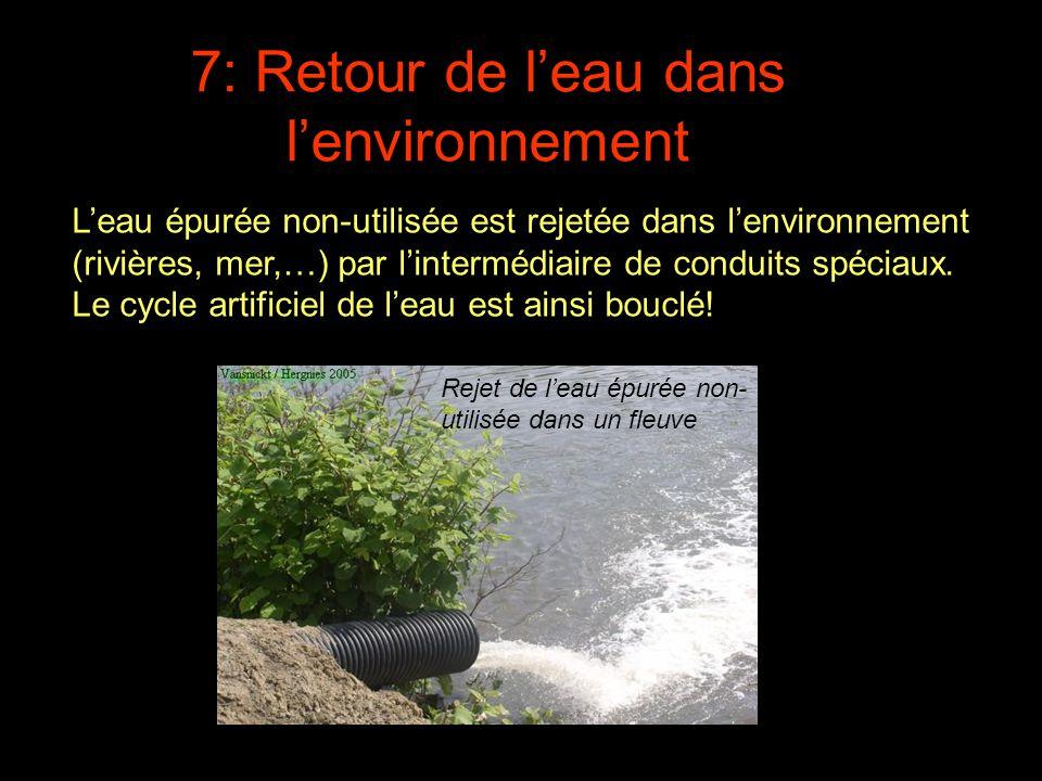 L'eau épurée non-utilisée est rejetée dans l'environnement (rivières, mer,…) par l'intermédiaire de conduits spéciaux. Le cycle artificiel de l'eau es