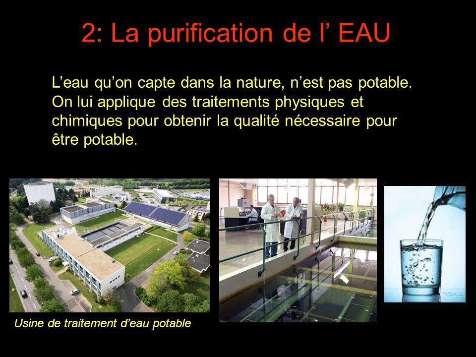 2: La purification de l' EAU L'eau qu'on capte dans la nature, n'est pas potable. On lui applique des traitements physiques et chimiques pour obtenir