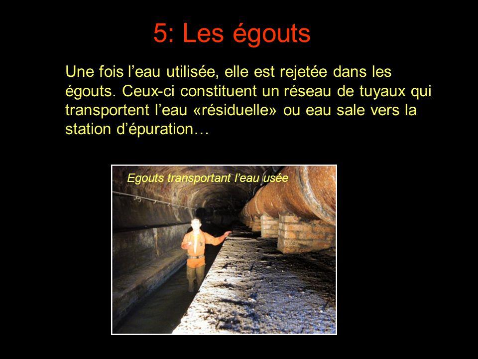 Une fois l'eau utilisée, elle est rejetée dans les égouts. Ceux-ci constituent un réseau de tuyaux qui transportent l'eau «résiduelle» ou eau sale ver