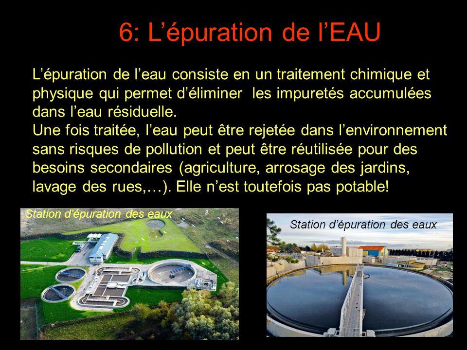 L'eau épurée non-utilisée est rejetée dans l'environnement (rivières, mer,…) par l'intermédiaire de conduits spéciaux.