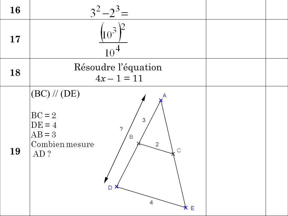 Calcul/ Connaissance des nombres RéponseJury 20 Quelle est la racine carrée du double de 8 .
