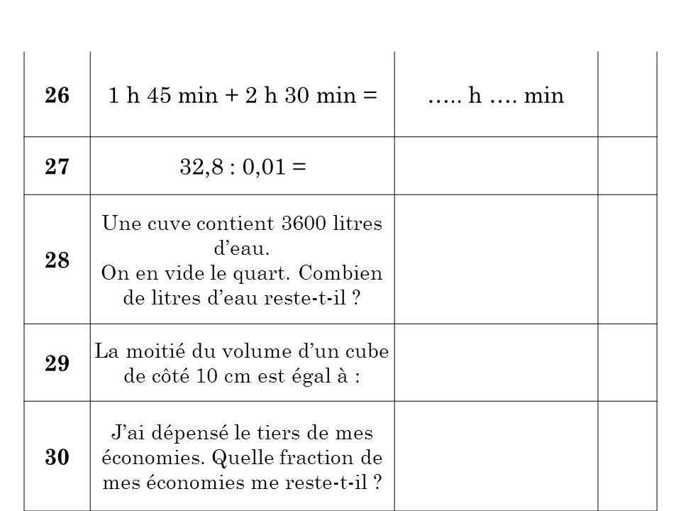 26 1 h 45 min + 2 h 30 min =….. h …. min 27 32,8 : 0,01 = 28 Une cuve contient 3600 litres d'eau. On en vide le quart. Combien de litres d'eau reste-t