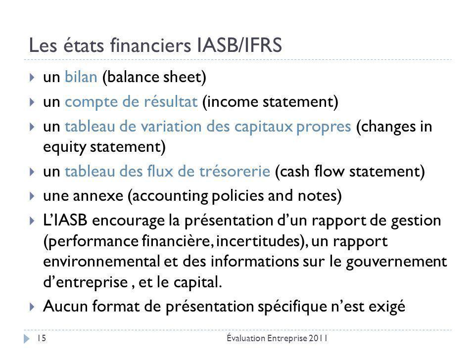 Les états financiers IASB/IFRS Évaluation Entreprise 201115  un bilan (balance sheet)  un compte de résultat (income statement)  un tableau de vari